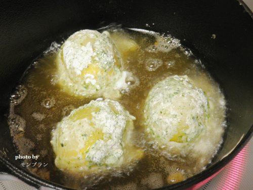 自家製冷凍卵で作る卵の天ぷら