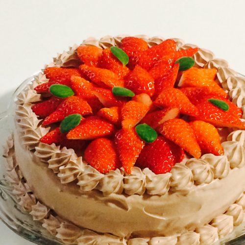 いちごとチョコクリームのデコレーションケーキ