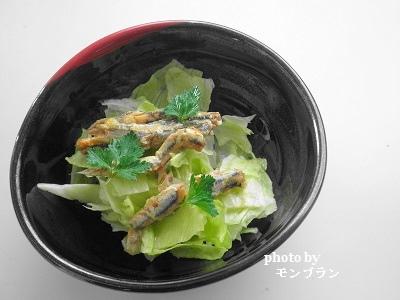 国産小いわしのオリーブ油漬(柑橘風味)のサラダ仕立て