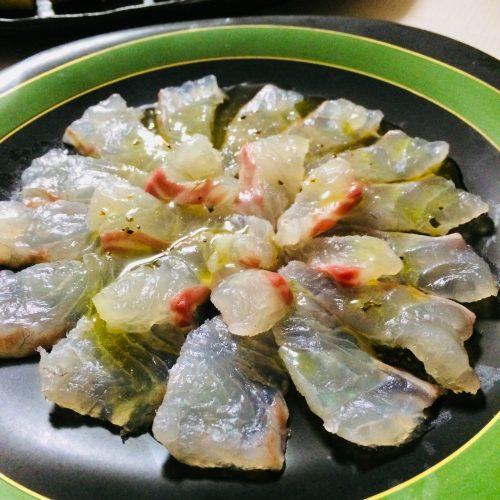 お誕生日パーティーメニューの鯛のカルパッチョレシピ