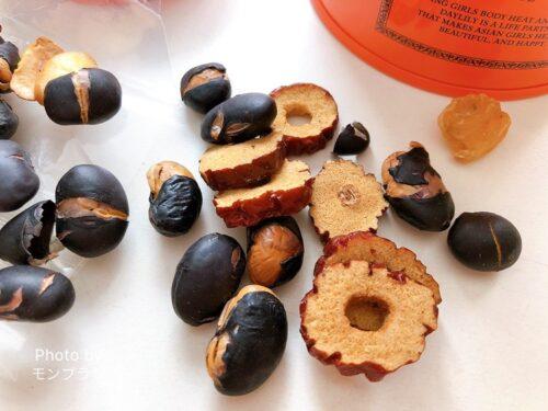 デイリリーの食べる薬膳茶の材料の黒豆・なつめ・竜眼の効果
